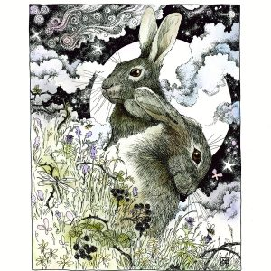 Hares in the Hedgerow