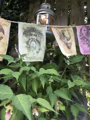 pagan prayer flags in garden