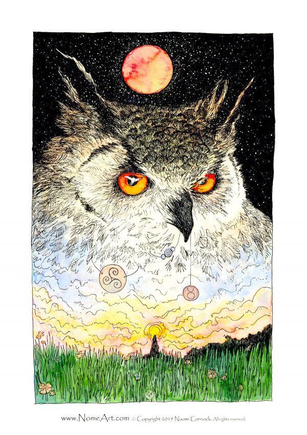 Eagle Owl Blood Moon