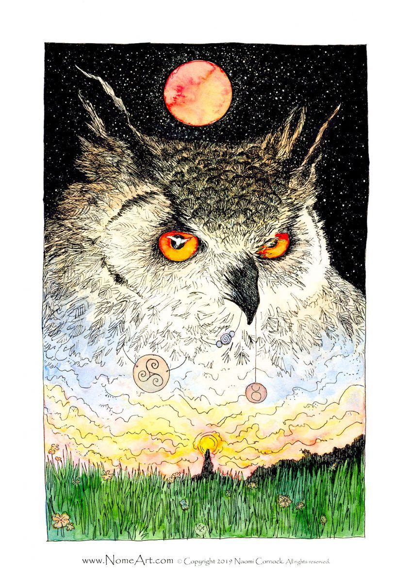 Eagle Owl Blood Moon