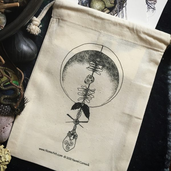Witches Ladder print organic cotton card bag