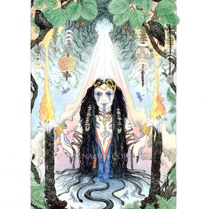 """Sulis was pulled from the cauldron in early spring 2021 but she had been influencing me through out much of the year before, sparked when a witch from Exmoor asked me to create an image of her. I journeyed to find her and connected, from then on through lockdowns and virus surges the goddess of the healing springs, ancestral and sovereign goddess of Albion, was there cleansing with sacred fire and water. The lady of the hot springs a healing light in dark days, uplifting and sustaining me. I would like to thank the Priestess Lon Dubh for sharing her vision and connection to her goddess with me to help create this image and hopefully bring some healing energy to others. The words below are hers. Sulis - Noibo aidu iskâ ffanon. (Proto-Celtic """"Sacred Fire Water Goddess.) Sister-Goddess to Briga and so sacred that that even the Romans did not dare to remove Her name from Her sacred shrine, deciding to keep it and add Minerva to it - Sulis Minerva. Sadly though, they changed the name of the place from Sulis to Bath. Ancient beloved Goddess of these Isles. Revered by the Ancestors as: She entwined with Fire and Water. She of both Sun and Moon. She who heals. She who wields curses from those who seek to ask. Ancient. Powerful. Fierce and boundless yet Healer of All Ills. She watches over these Isles still...."""